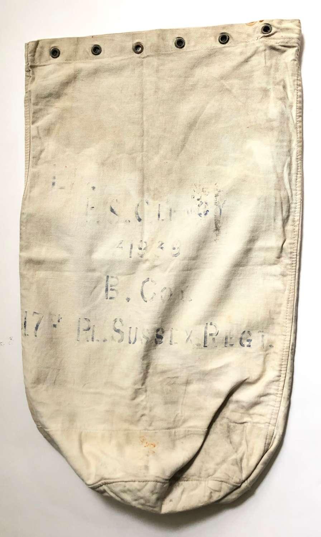 WW1 1918 Royal Sussex Regiment Kit Bag.