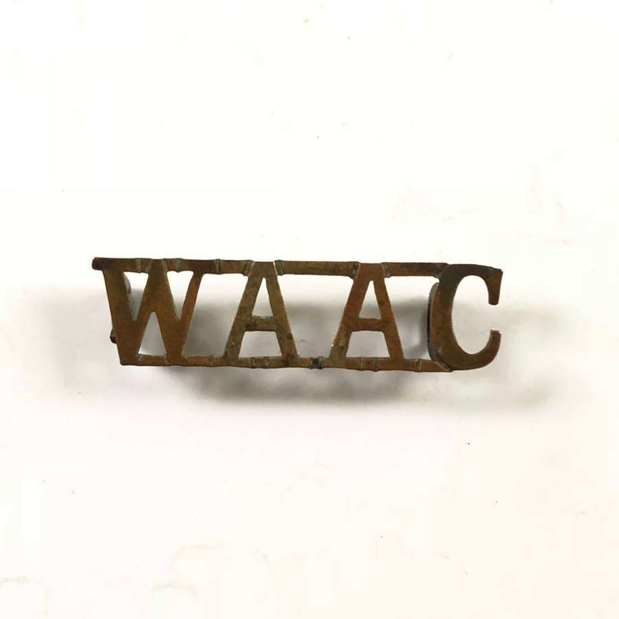 WW1 Women's Army Auxiliary Corps WAAC Brass Title Badge.