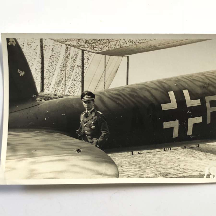 WW2 Luftwaffe Snap Shot Photograph of a Pilot & Aircraft.