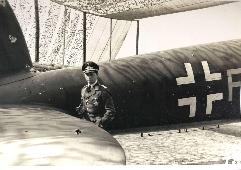 WW2 Luftwaffe Snap Shot Photograph of a Pilot & Aircraft.