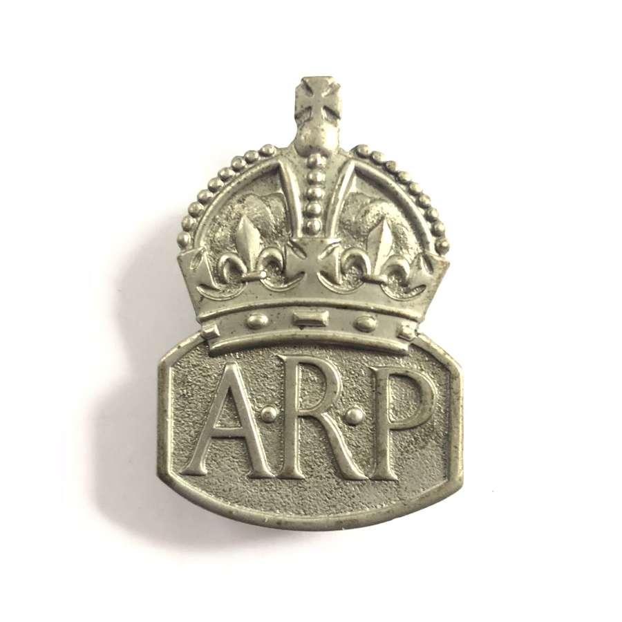 Air Raid Precautions ARP white metal lady warden badge circa 1940 to 1