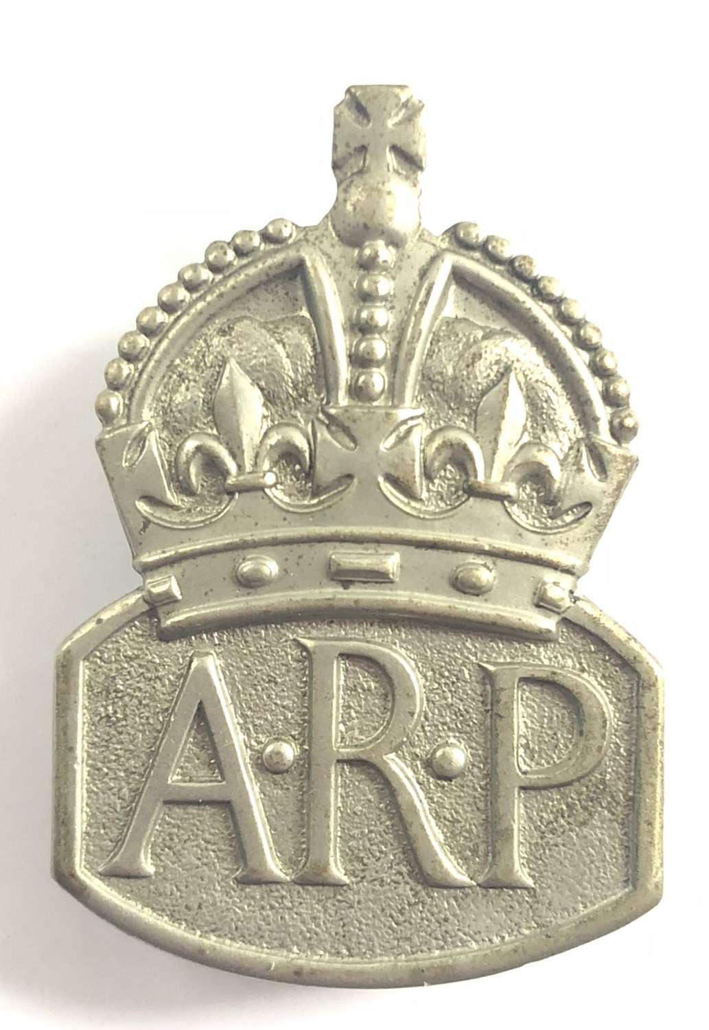 Air Raid Precautions ARP white metal lady warden badge circa 1940 to 1