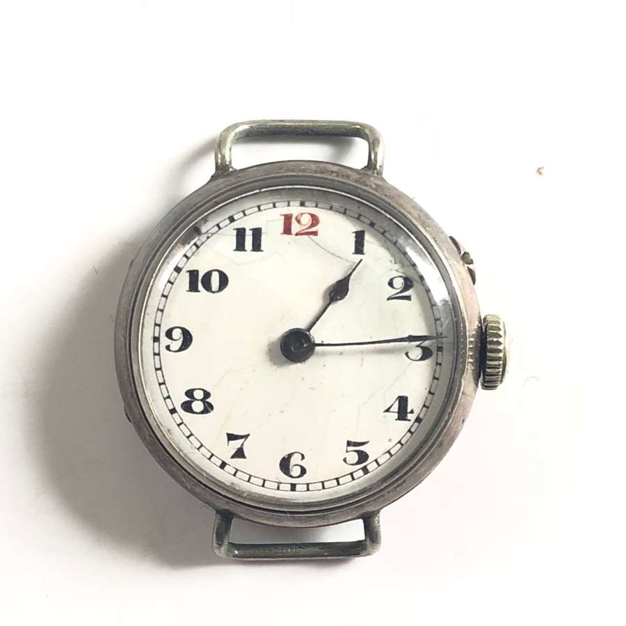 WW1 Period Small Face Silver Case Wristwatch.