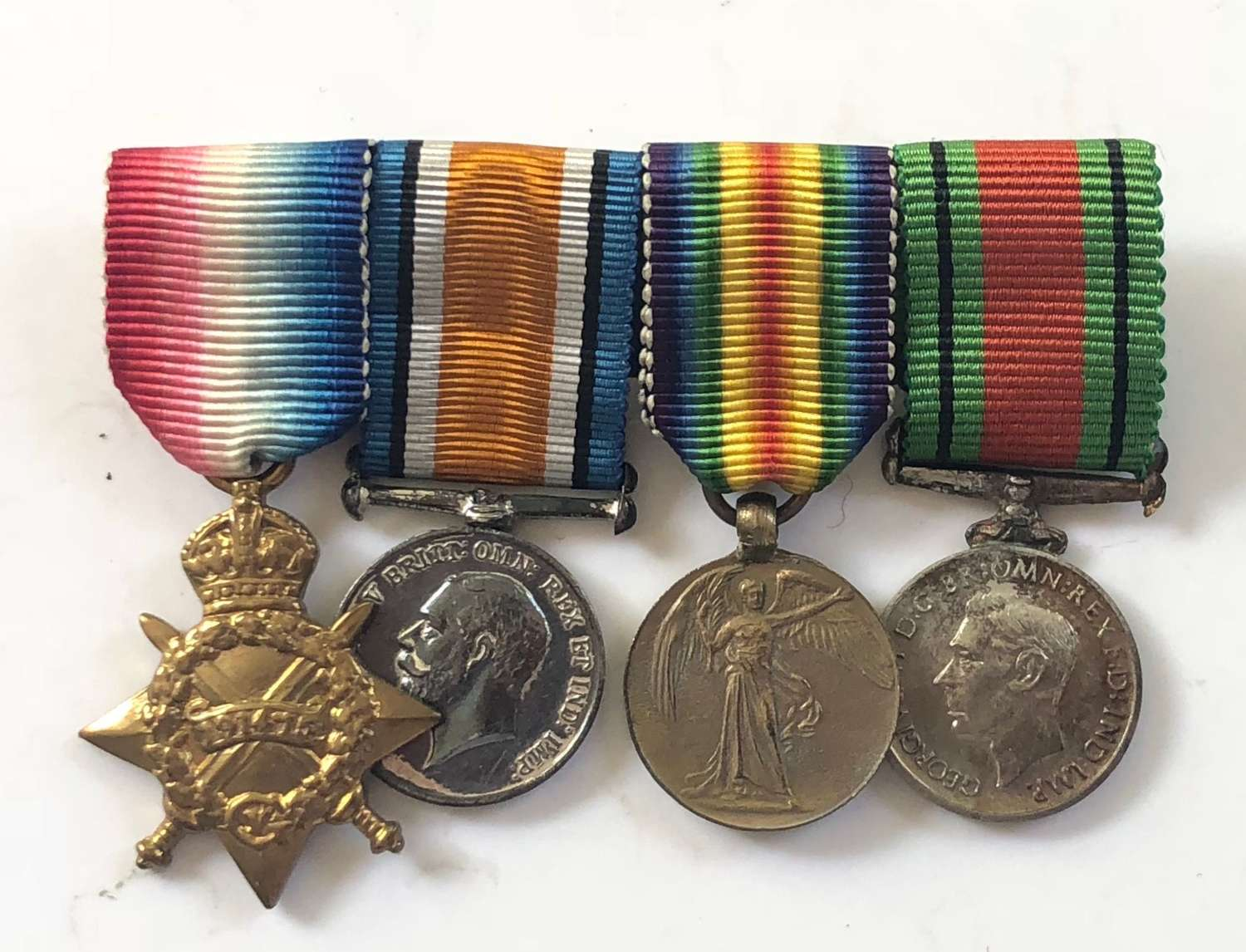 WW1 Miniature Medal Group of Four Medals.