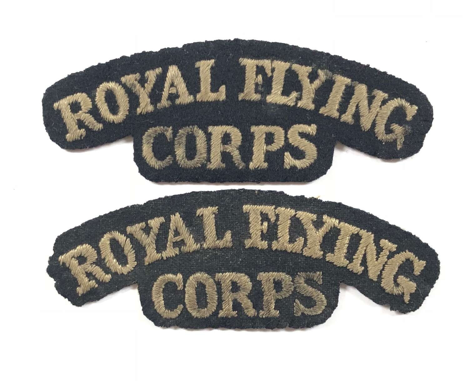 WW1 Royal Flying Corps RFC Matching Pair Cloth Shoulder Titles.