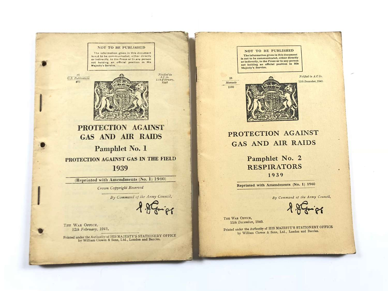 WW2 Home Front 1939 Protection Against Gas Booklets.
