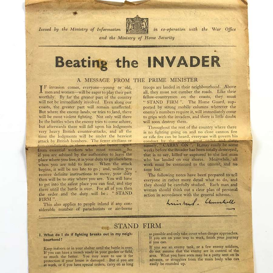"WW2 ""Beating the Invader"" Original Home Front Leaflet"