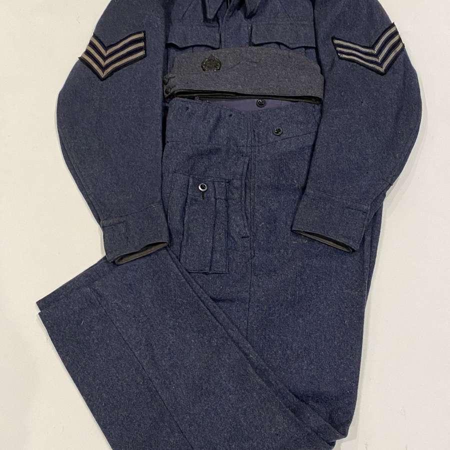 WW2 RAF 1945 War Service Battledress Uniform & Side Cap.