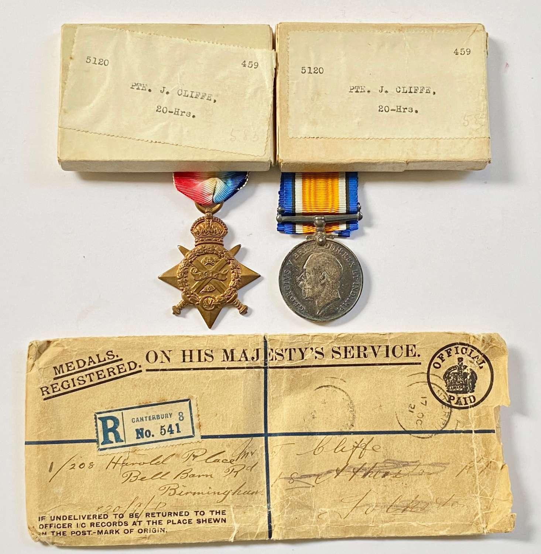 WW1 20th Hussars 1914 Star & British War Medal Pair.