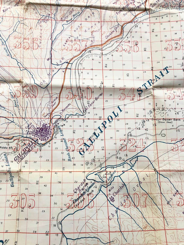 WW1 1915 Original Gallipoli Military Trench Map.