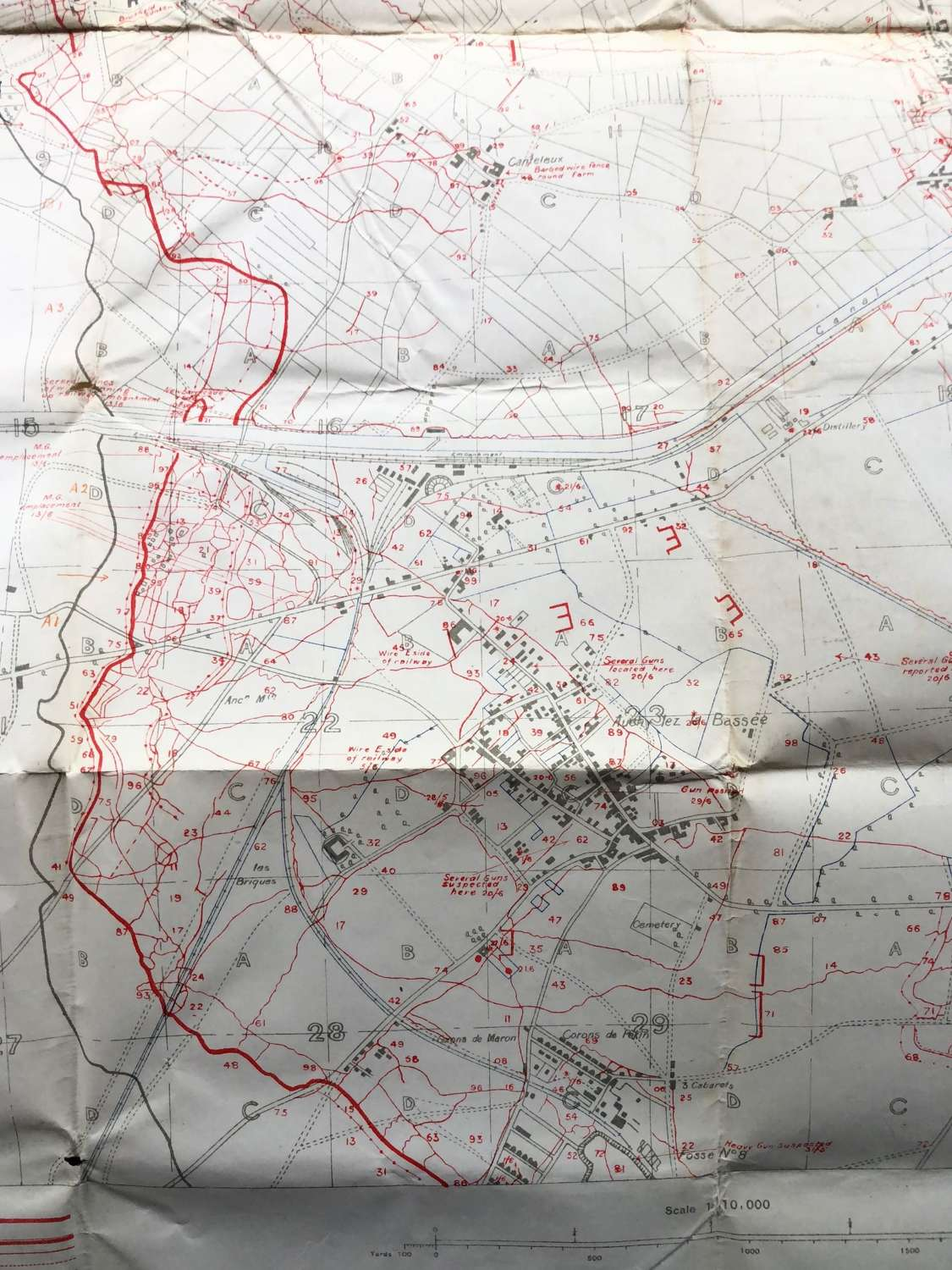 WW1 1915 Original Trench Map Violaines La Bassee.