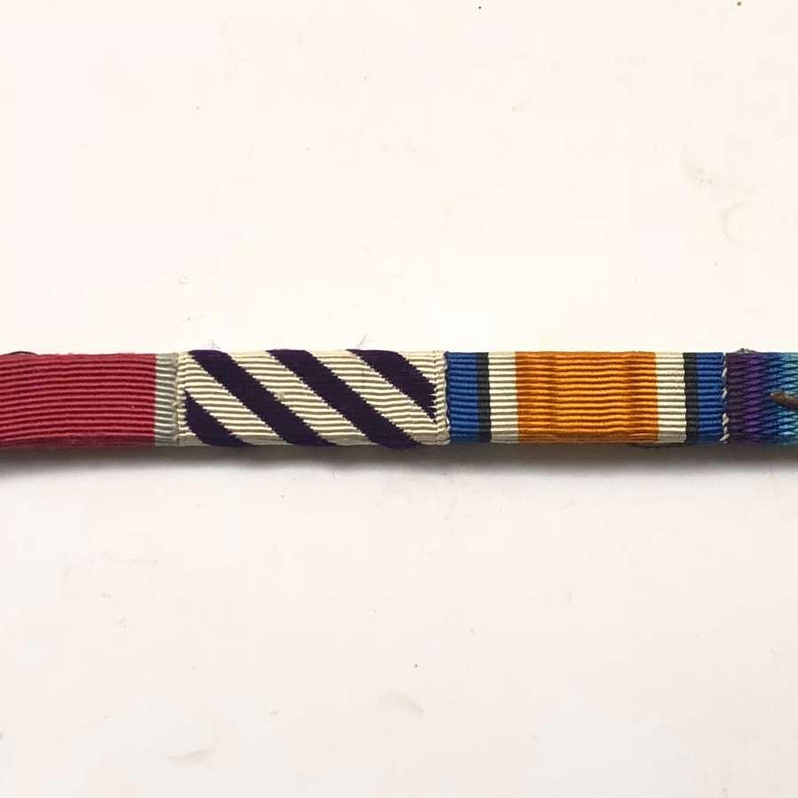 WW1 / WW2 Original RAF DFC MID Oak Leaf Uniform Medal Ribbon Bar.