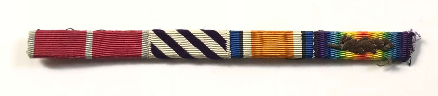 WW1 / WW2 Original RAF DFC MID Oak Leaf Uniform Medal Ribbon Bar.