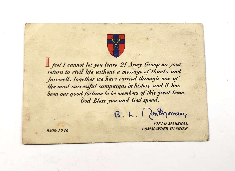 WW2 Field Marshal Bernard Montgomery Farewell Message Card