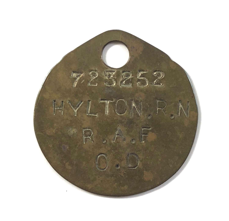 WW2 RAF Brass Airman's ID Tag West Indies Enlistment.