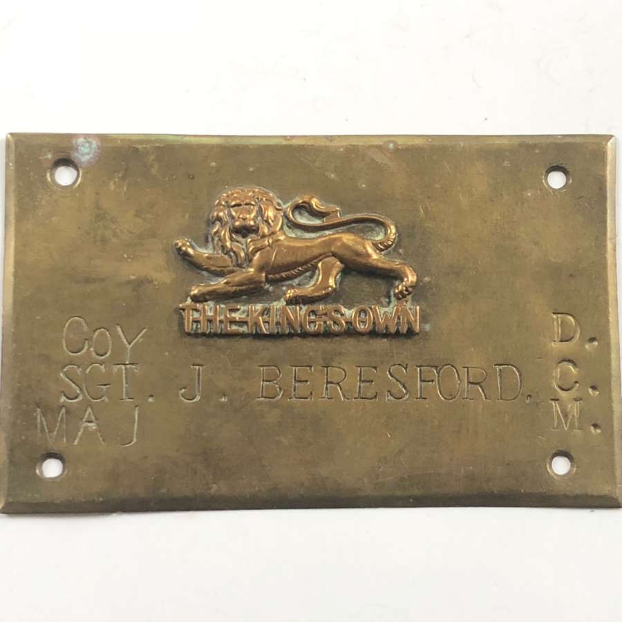 King's Own  & Machine Gun Corps Brass Duty / Door Plaque DCM Winner.