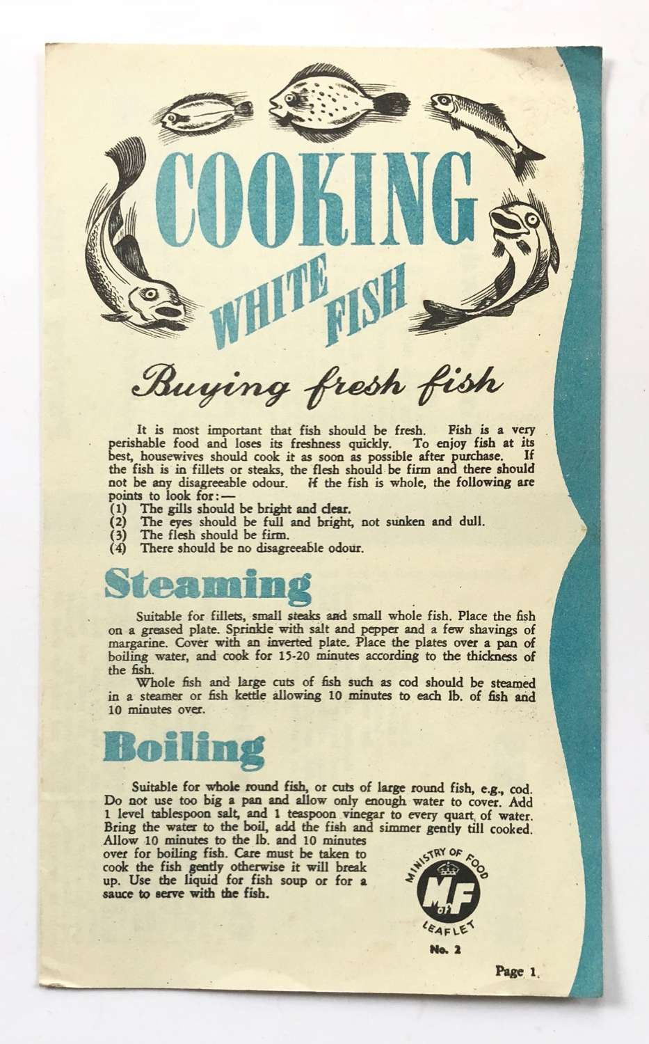 "WW2 Home Front Ministry of Food ""Cooking White Fish Leaflet."
