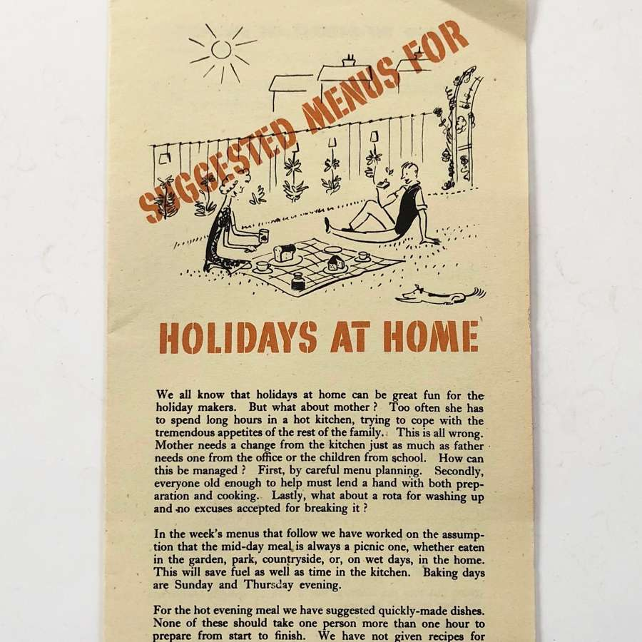 WW2 Home Front Ministry of Food Menus For Holidays at Home Leaflet.