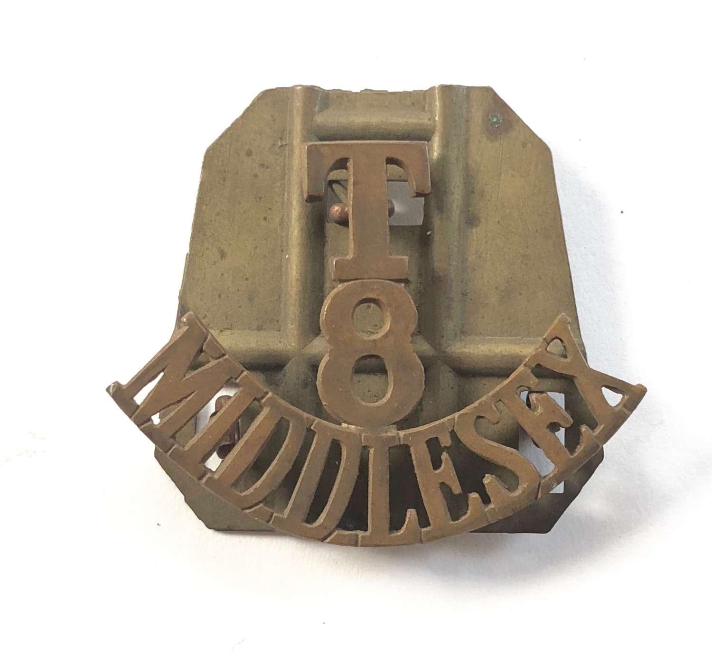 WW1 T 8 Middlesex Shoulder Title Badge.