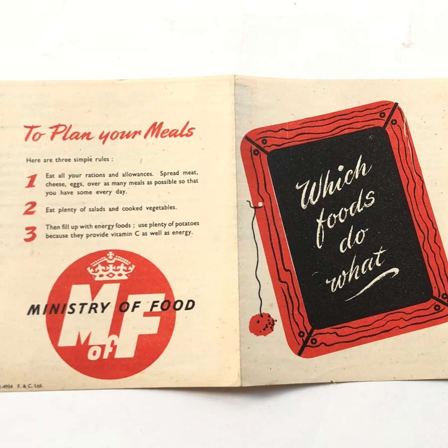 "WW2 Period Home Front Ministry of Food ""Which Foods Do What"" Leafl"