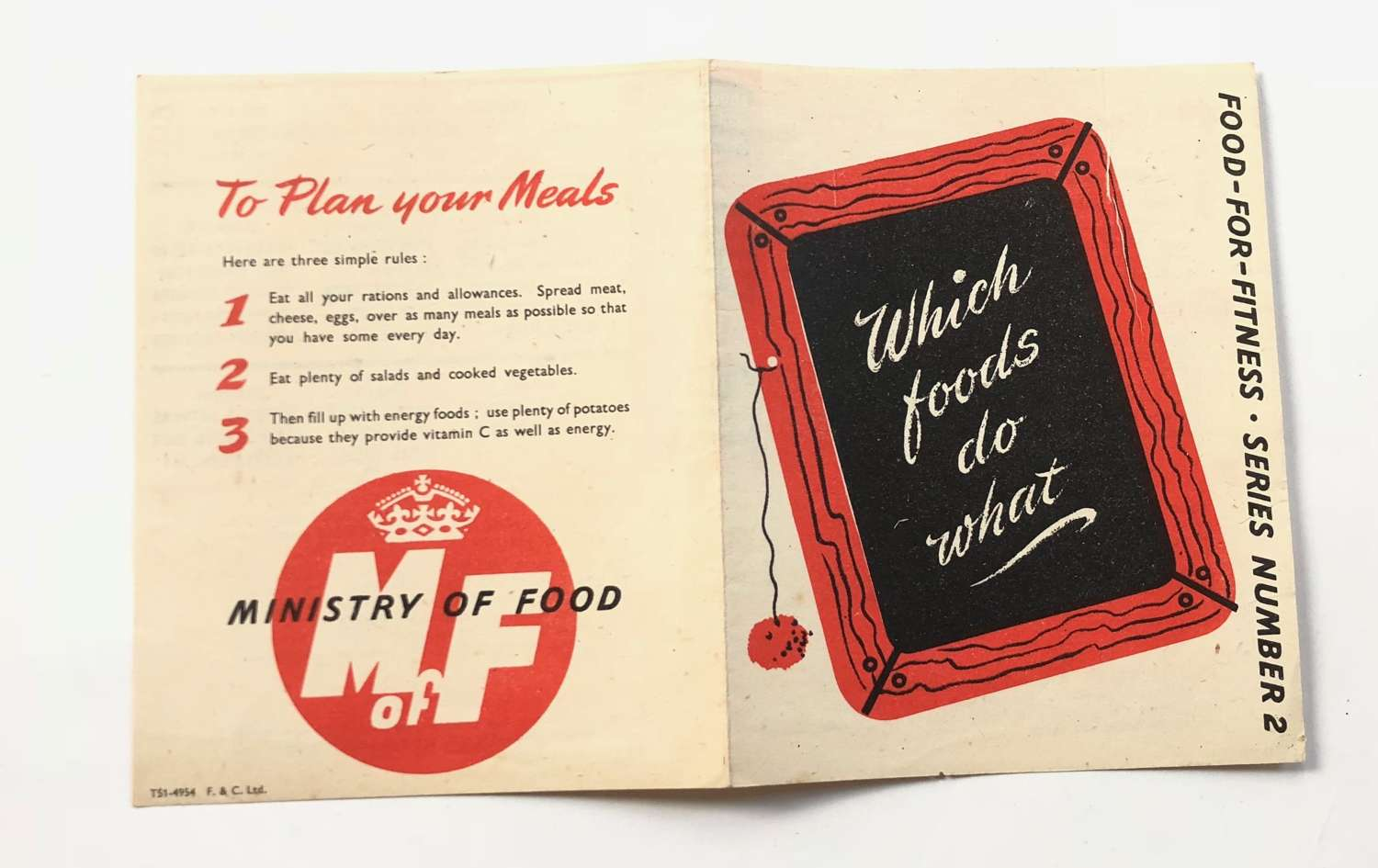 """WW2 Period Home Front Ministry of Food """"Which Foods Do What"""" Leafl"""