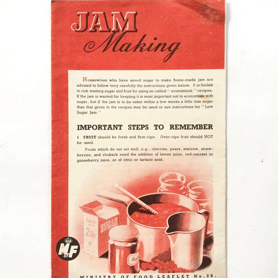 "WW2 Period Home Front Ministry of Food ""Jam Making"" Leaflet."