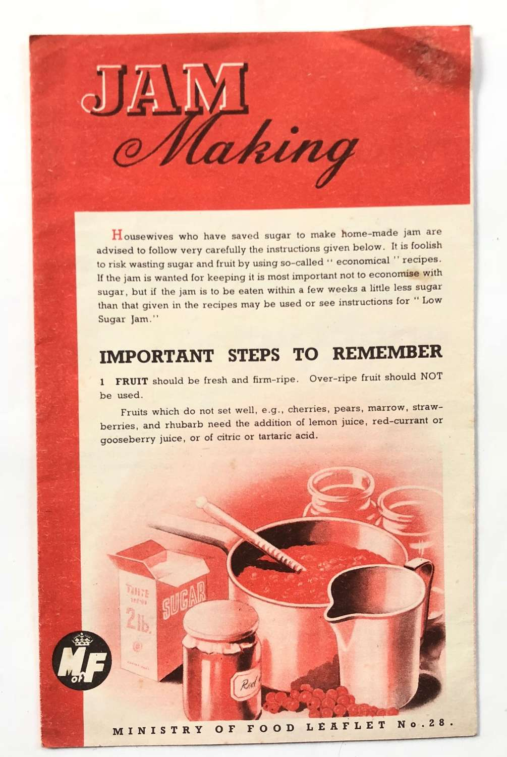 """WW2 Period Home Front Ministry of Food """"Jam Making"""" Leaflet."""