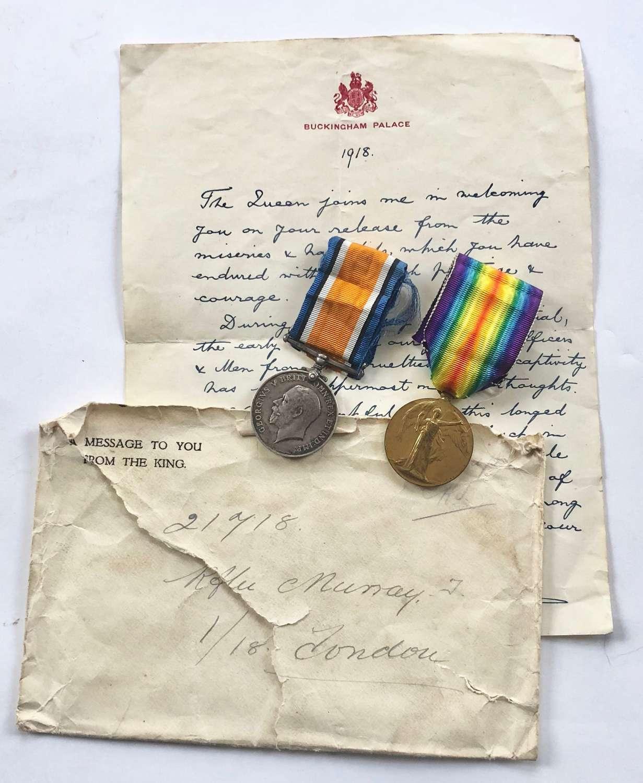 WW1 1/18th (London Irish) POW Group of Medals.
