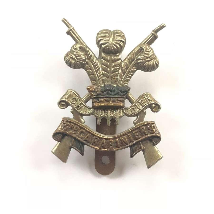WW2 3rd Carabiniers Cavalry Cap Badge.
