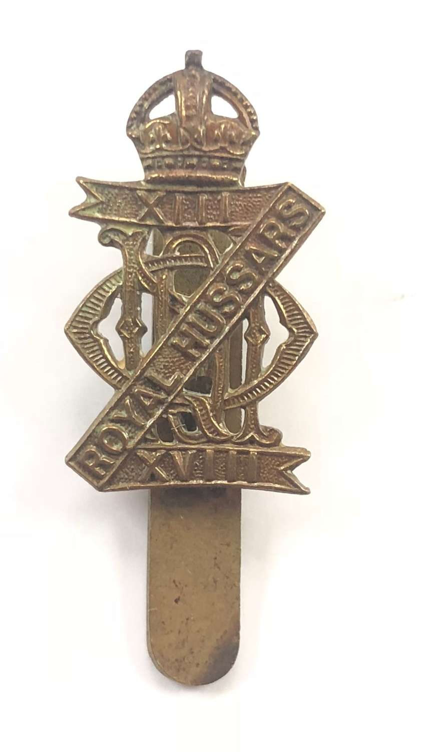 WW2 13th / 18th Royal Hussars Cavalry Cap Badge.