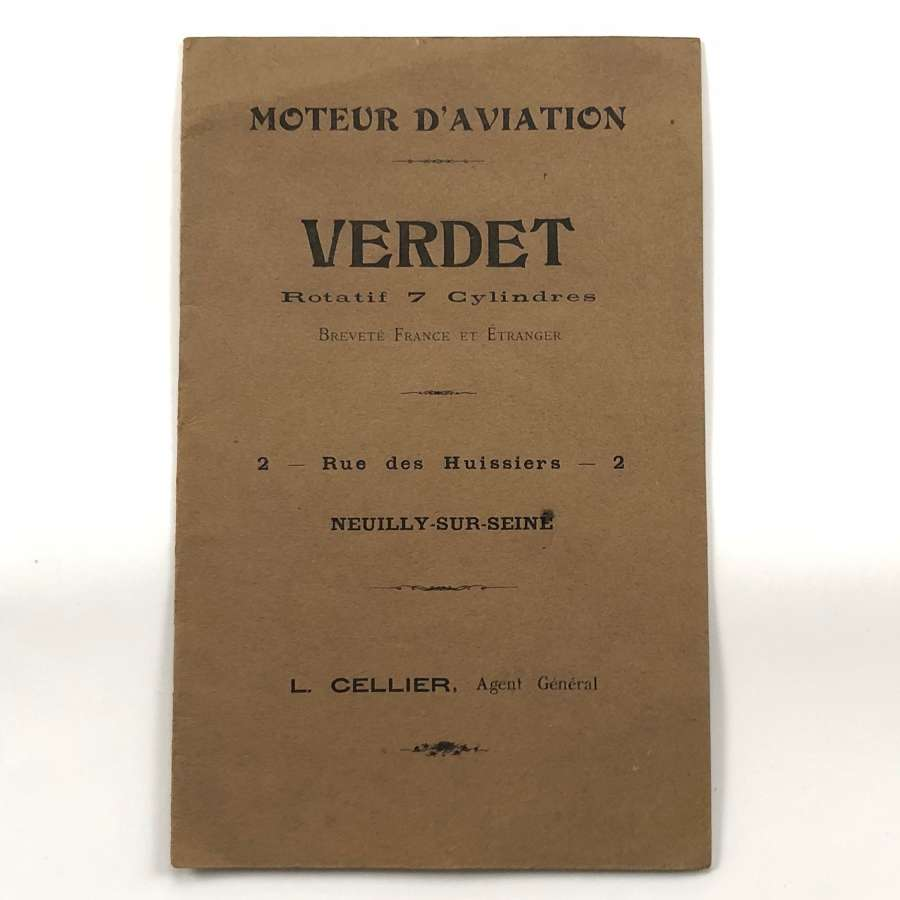 Pre WW1 Verdet 7 Cylinder Rotary Engine Sales Booklet