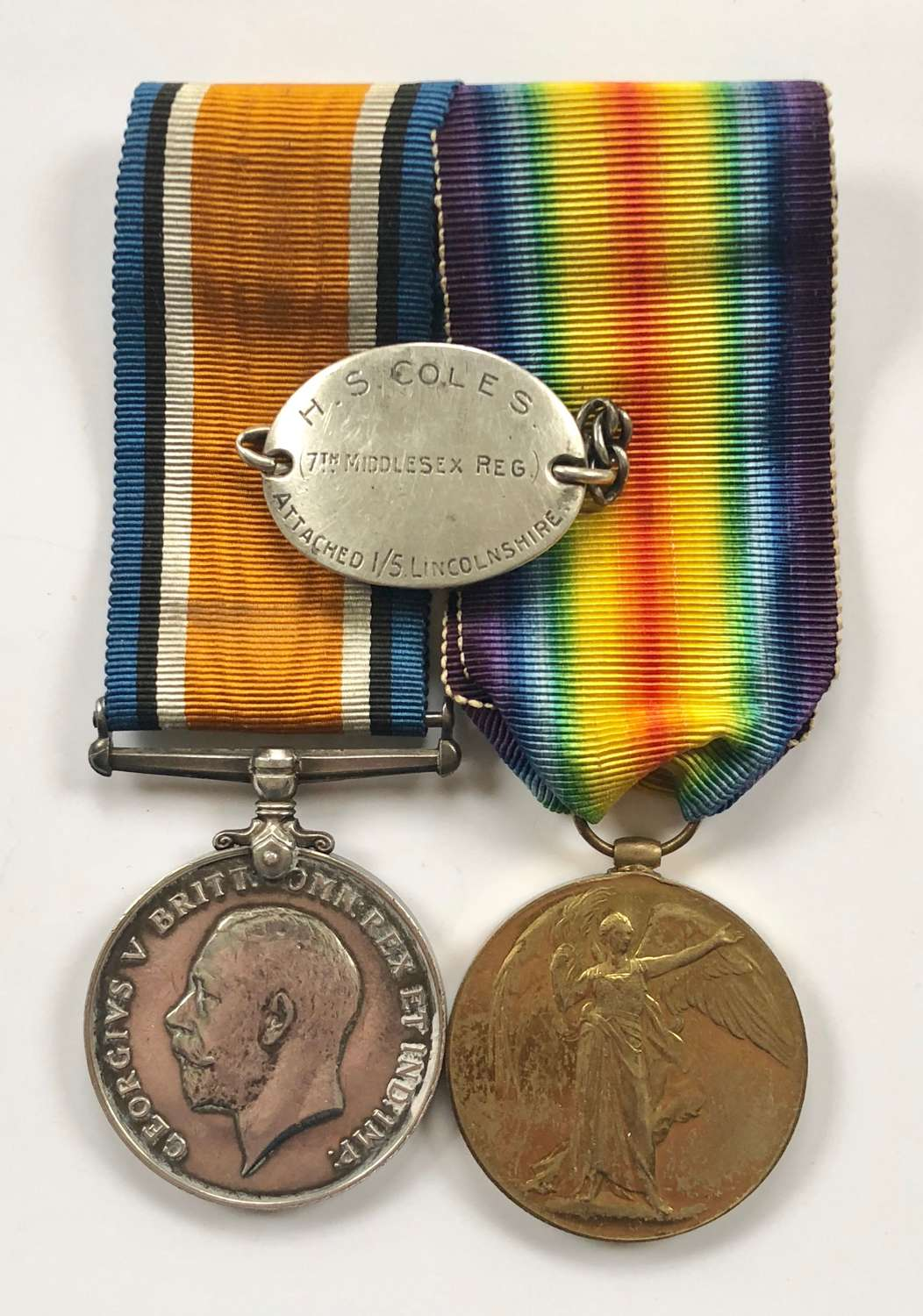 WW1 Middlesex / Lincolnshire Regiment Officer's Medals & ID Tag