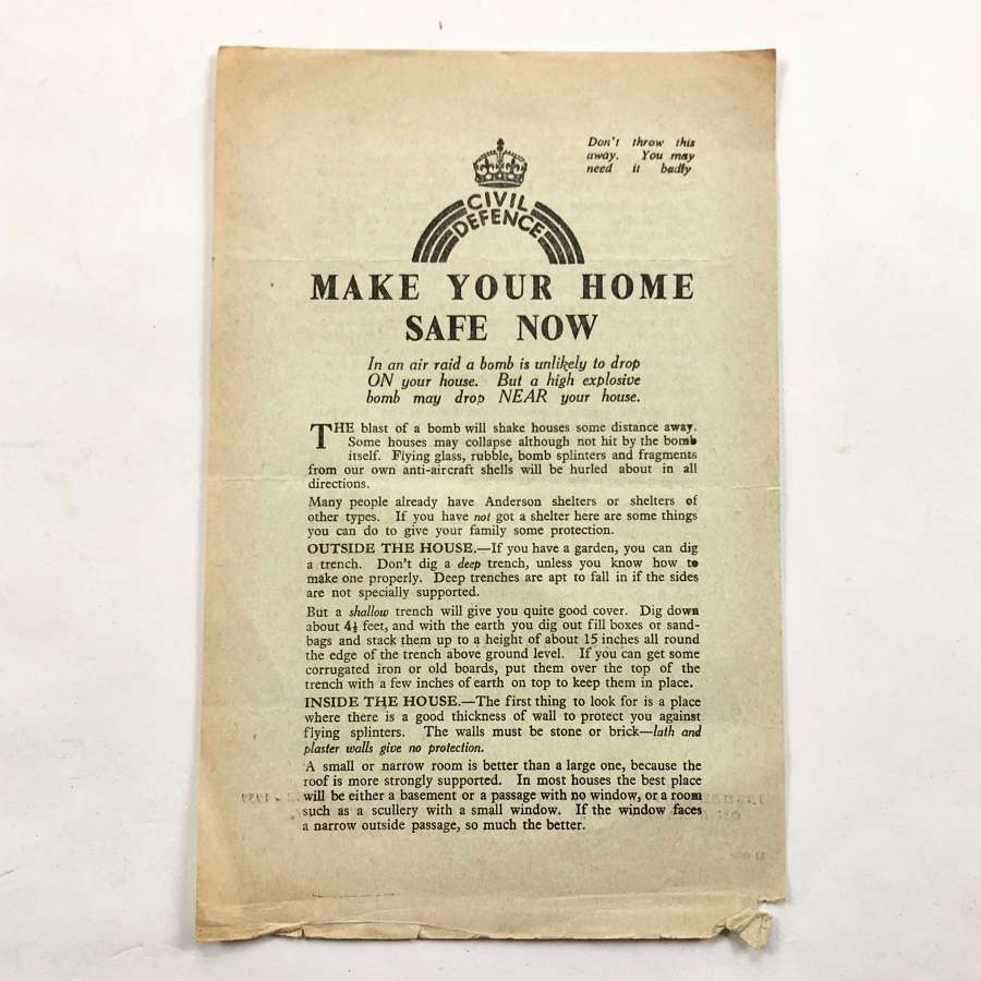 WW2 Home Front Civil Defence Make Your Home Safe Leaflet.