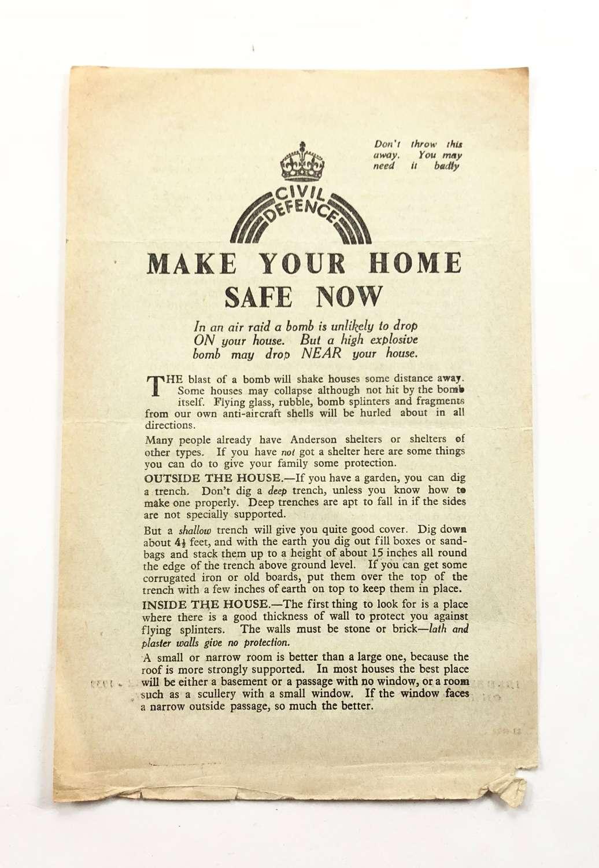 WW2 Home Front Civil Defence Make Your Home Safe Leaflet.
