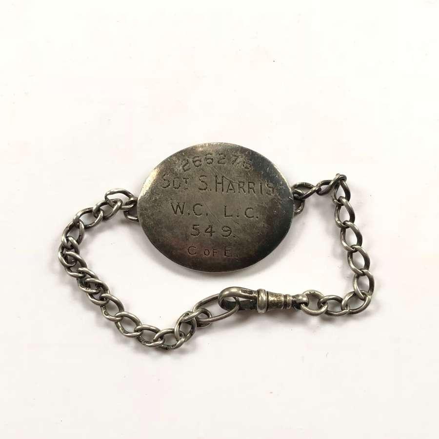 WW1 Labour Corps Personal Silver ID Bracelet.