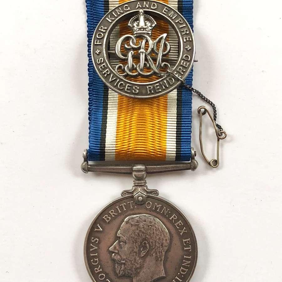 WW1 Royal Marine Light Infantry BWM Medal & Silver War Badge.