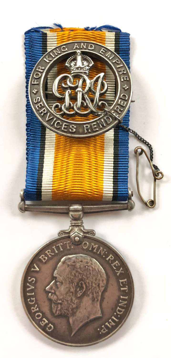 WW1 Royal Marine Light Infantry BWM Medal & Silver War Badge.