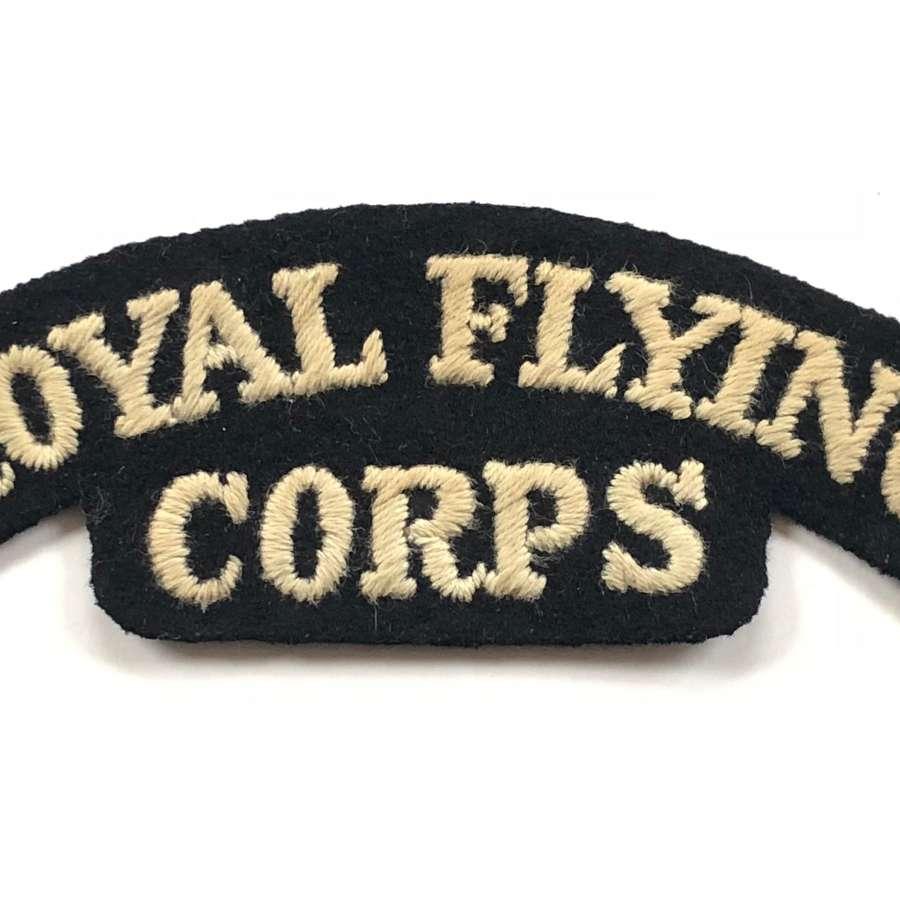 WW1 RFC Royal Flying Corps Shoulder Title Badge.