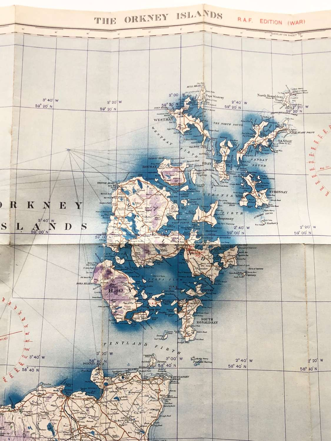 WW2 RAF Flying Map The Orkney Islands.