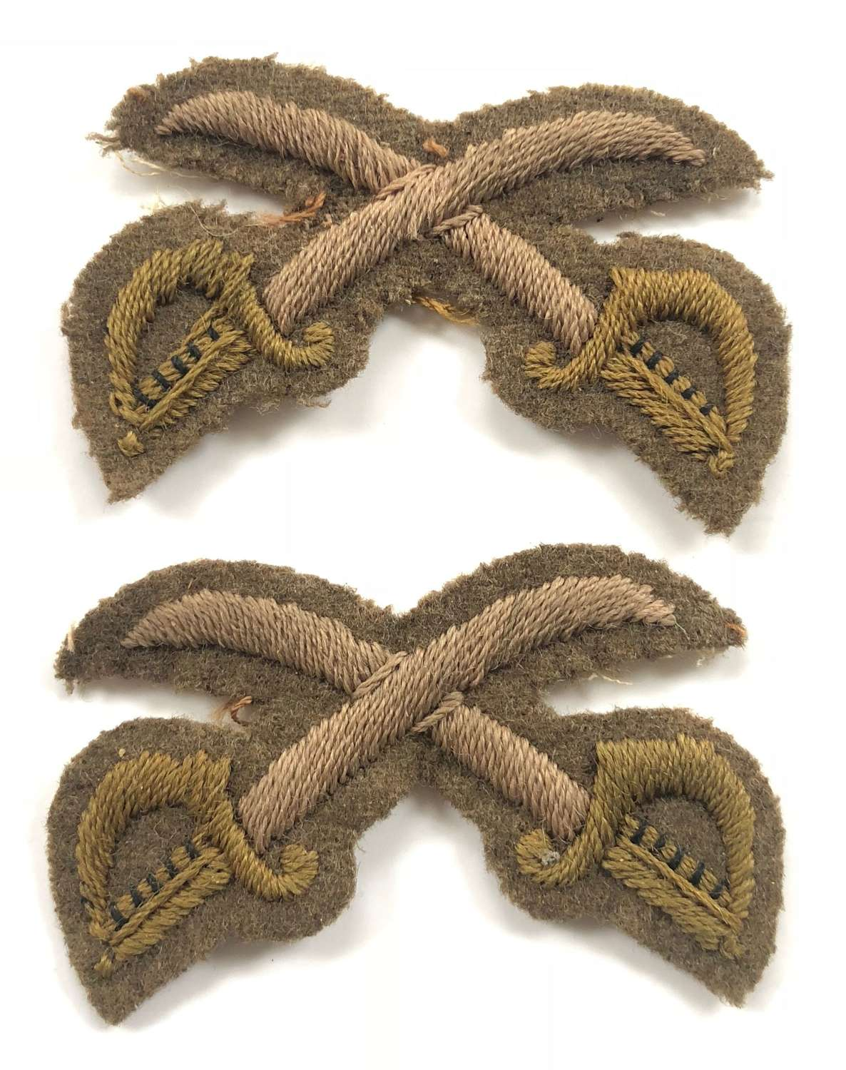 WW1 Period Army Physical Training Instructors Crossed Swords Badges.