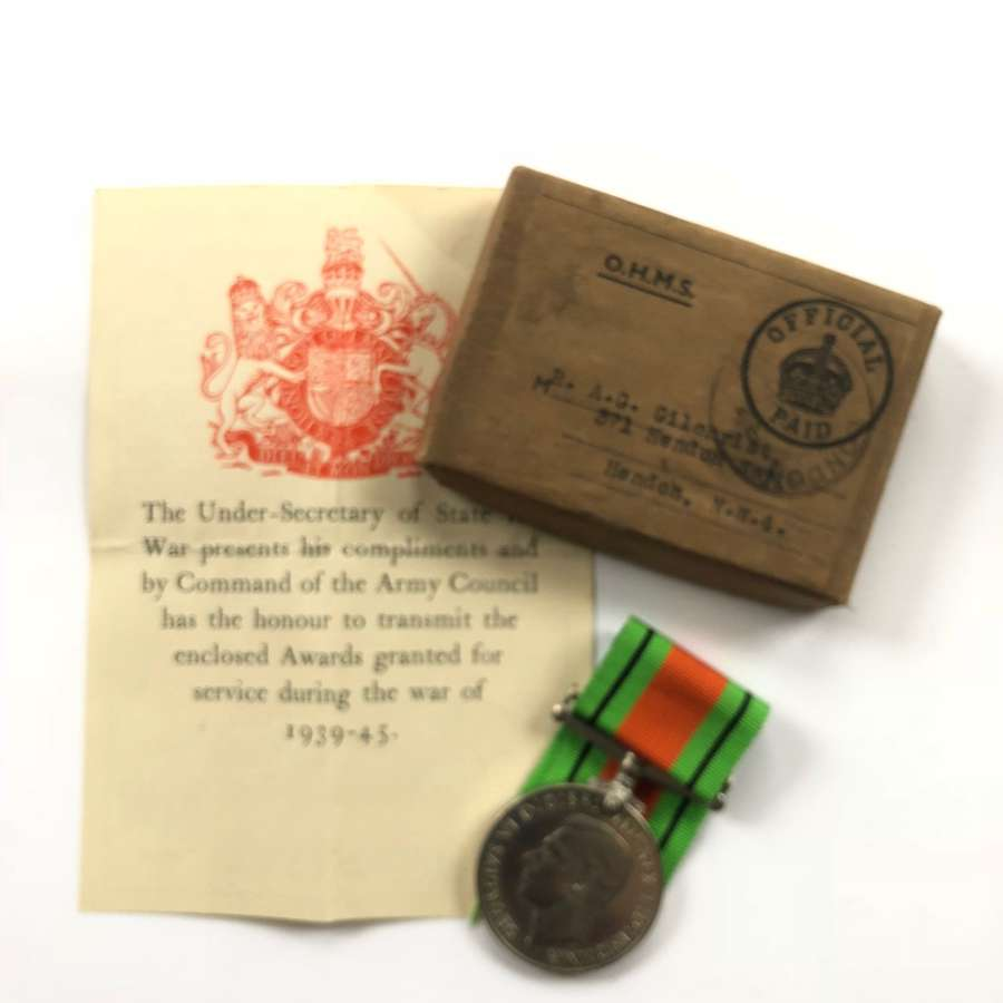 WW2 Home Guard North London Attributed Defence Medal.