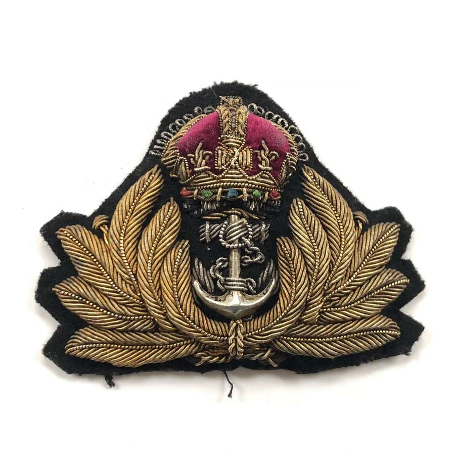 WW2 Period Royal Navy Officer's Cap Badge.