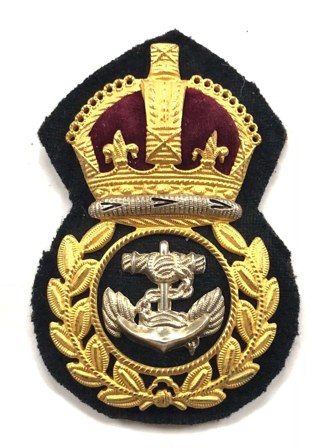 WW2 Royal Navy Chief Petty Officer's Economy Pattern Cap Badge.