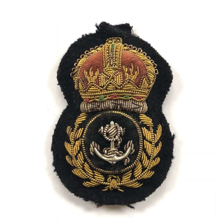 WW2 Period Royal Navy Chief Petty Officer Bullion Cap Badge.