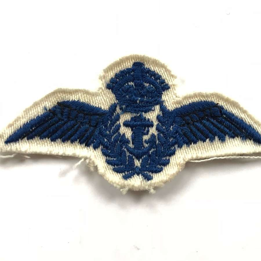 WW2 Royal Navy Fleet Air Arm Ratings Embroidered Tropical Pilot Wings.