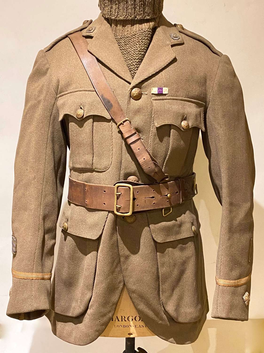 WW1 Royal Scots Officer's Trench Weight Cuff Rank Doublet Tunic.