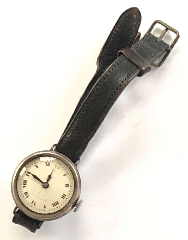 WW1 Period Ladies Silver Cased Ladies Wristwatch.