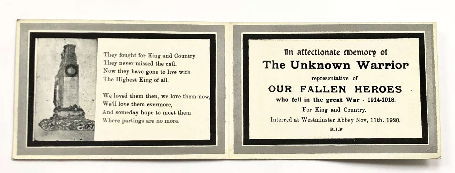 WW1 Original 1920 Unknown Warrior Memorial Card.