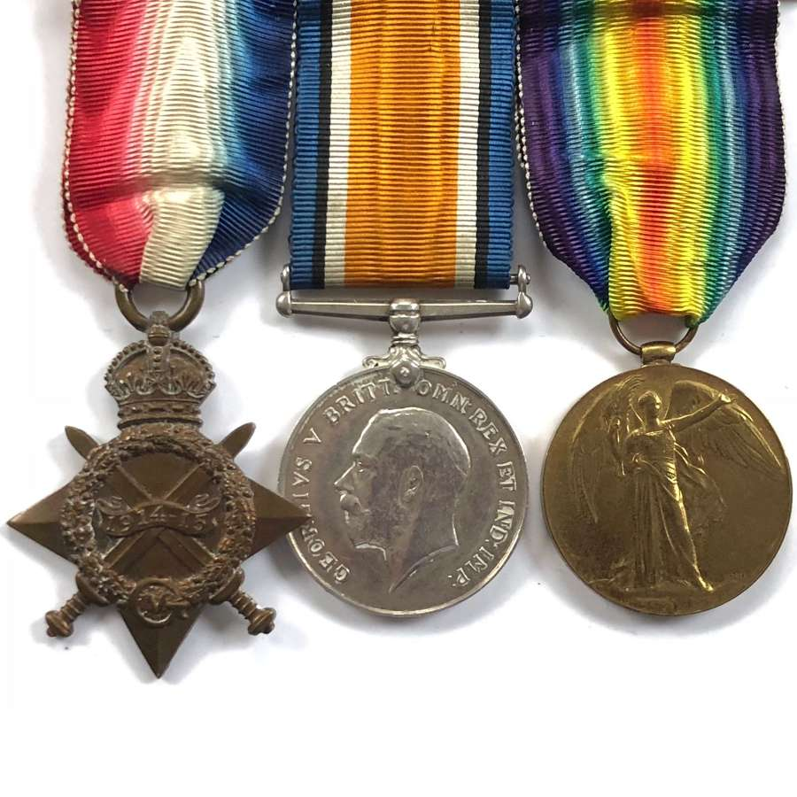 WW1 Leicestershire Regiment Group of Three Medals. Wounded.