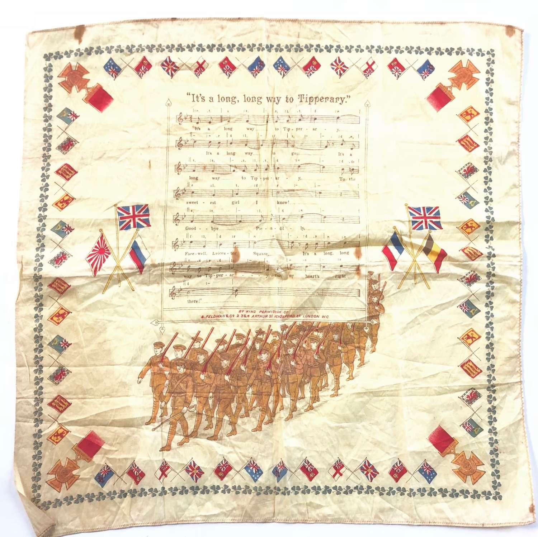 "WW1 Irish ""It's A Long Way to Tipperary"" Patriotic handkerchief."